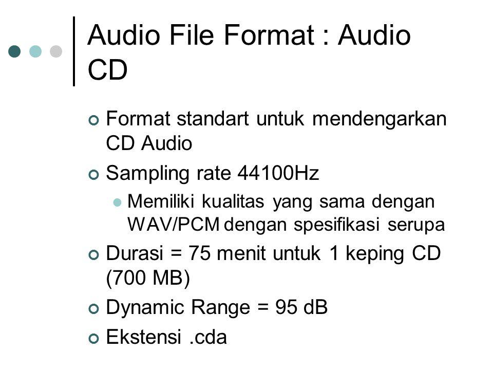 Audio File Format : Audio CD Format standart untuk mendengarkan CD Audio Sampling rate 44100Hz Memiliki kualitas yang sama dengan WAV/PCM dengan spesifikasi serupa Durasi = 75 menit untuk 1 keping CD (700 MB) Dynamic Range = 95 dB Ekstensi.cda