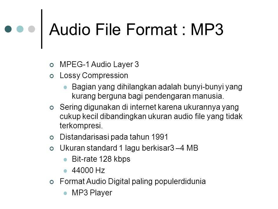 Audio File Format : MP3 MPEG-1 Audio Layer 3 Lossy Compression Bagian yang dihilangkan adalah bunyi-bunyi yang kurang berguna bagi pendengaran manusia.