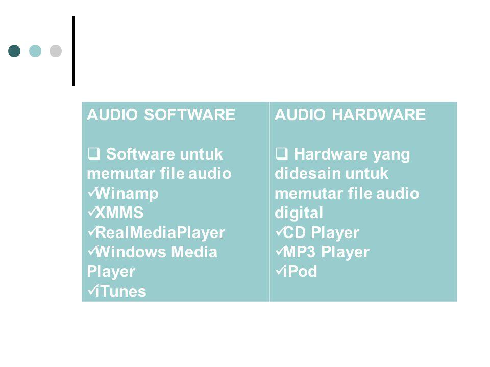 AUDIO SOFTWARE  Software untuk memutar file audio Winamp XMMS RealMediaPlayer Windows Media Player iTunes AUDIO HARDWARE  Hardware yang didesain untuk memutar file audio digital CD Player MP3 Player iPod