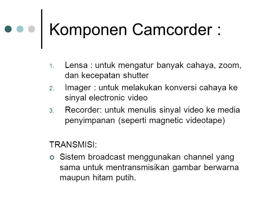 Komponen Camcorder : 1. Lensa : untuk mengatur banyak cahaya, zoom, dan kecepatan shutter 2. Imager : untuk melakukan konversi cahaya ke sinyal electr