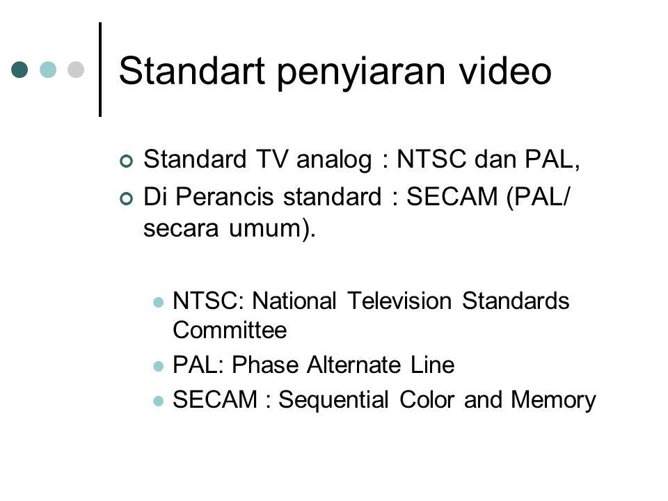 Standart penyiaran video Standard TV analog : NTSC dan PAL, Di Perancis standard : SECAM (PAL/ secara umum). NTSC: National Television Standards Commi