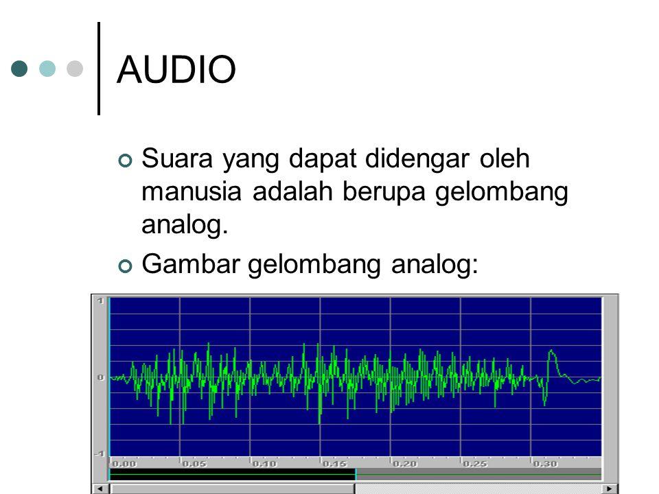 AUDIO Suara yang dapat didengar oleh manusia adalah berupa gelombang analog. Gambar gelombang analog: