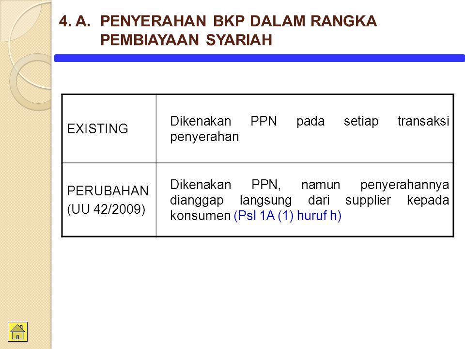 EXISTING Dikenakan PPN pada setiap transaksi penyerahan PERUBAHAN (UU 42/2009) Dikenakan PPN, namun penyerahannya dianggap langsung dari supplier kepada konsumen (Psl 1A (1) huruf h) 4.