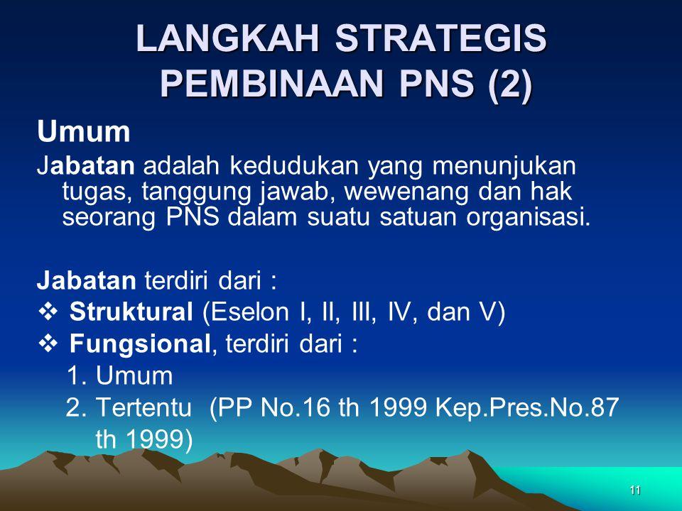 11 LANGKAH STRATEGIS PEMBINAAN PNS (2) Umum Jabatan adalah kedudukan yang menunjukan tugas, tanggung jawab, wewenang dan hak seorang PNS dalam suatu s