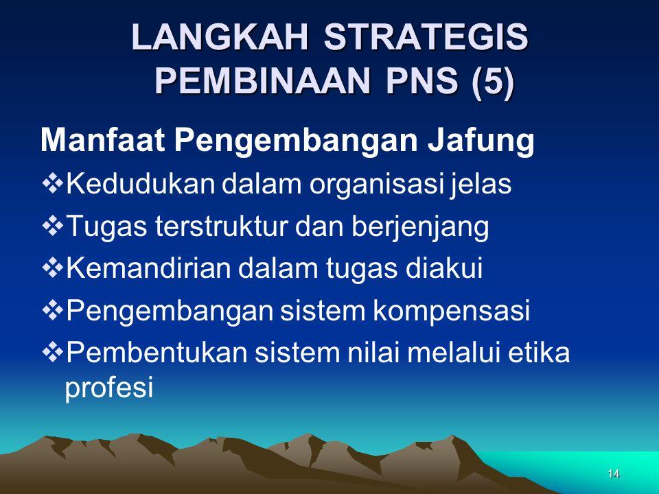 14 LANGKAH STRATEGIS PEMBINAAN PNS (5) Manfaat Pengembangan Jafung  Kedudukan dalam organisasi jelas  Tugas terstruktur dan berjenjang  Kemandirian