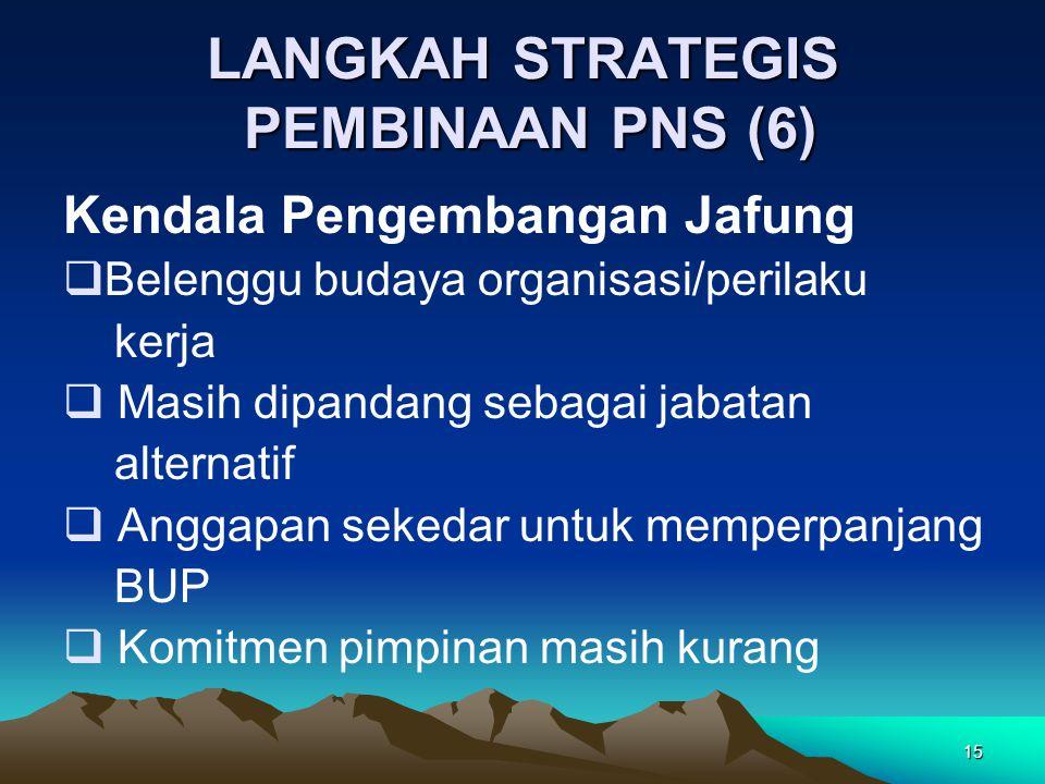 15 LANGKAH STRATEGIS PEMBINAAN PNS (6) Kendala Pengembangan Jafung  Belenggu budaya organisasi/perilaku kerja  Masih dipandang sebagai jabatan alternatif  Anggapan sekedar untuk memperpanjang BUP  Komitmen pimpinan masih kurang
