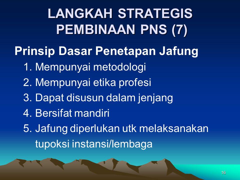 16 LANGKAH STRATEGIS PEMBINAAN PNS (7) Prinsip Dasar Penetapan Jafung 1. Mempunyai metodologi 2. Mempunyai etika profesi 3. Dapat disusun dalam jenjan
