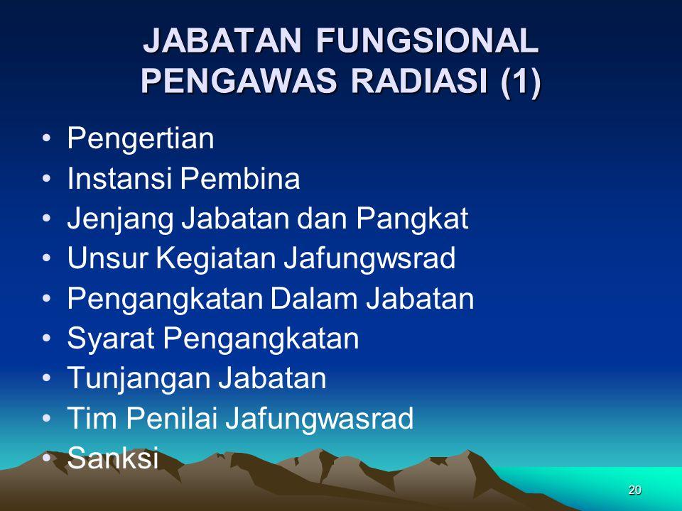 20 JABATAN FUNGSIONAL PENGAWAS RADIASI (1) Pengertian Instansi Pembina Jenjang Jabatan dan Pangkat Unsur Kegiatan Jafungwsrad Pengangkatan Dalam Jabat
