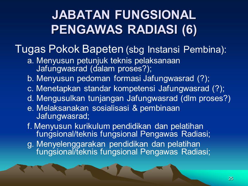 25 JABATAN FUNGSIONAL PENGAWAS RADIASI (6) Tugas Pokok Bapeten (sbg Instansi Pembina): a. Menyusun petunjuk teknis pelaksanaan Jafungwasrad (dalam pro
