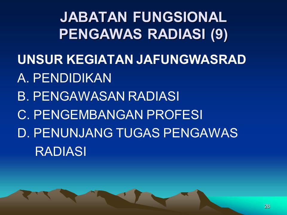 JABATAN FUNGSIONAL PENGAWAS RADIASI (9) UNSUR KEGIATAN JAFUNGWASRAD A. PENDIDIKAN B. PENGAWASAN RADIASI C. PENGEMBANGAN PROFESI D. PENUNJANG TUGAS PEN