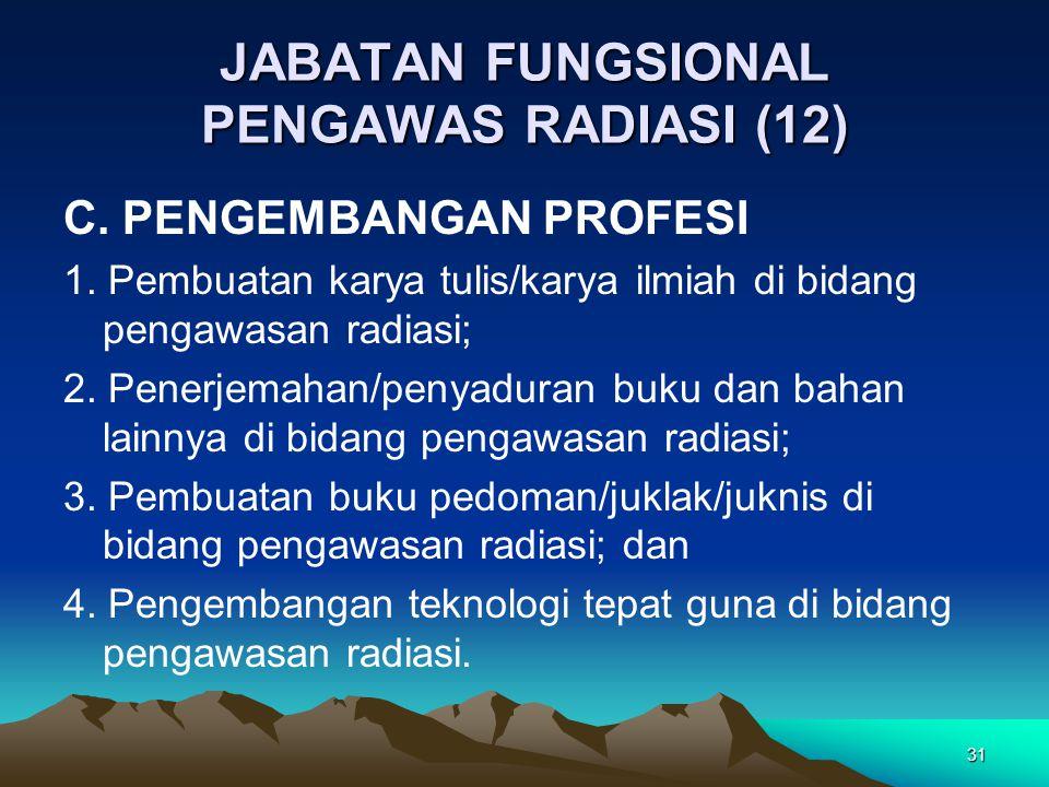 JABATAN FUNGSIONAL PENGAWAS RADIASI (12) C. PENGEMBANGAN PROFESI 1. Pembuatan karya tulis/karya ilmiah di bidang pengawasan radiasi; 2. Penerjemahan/p