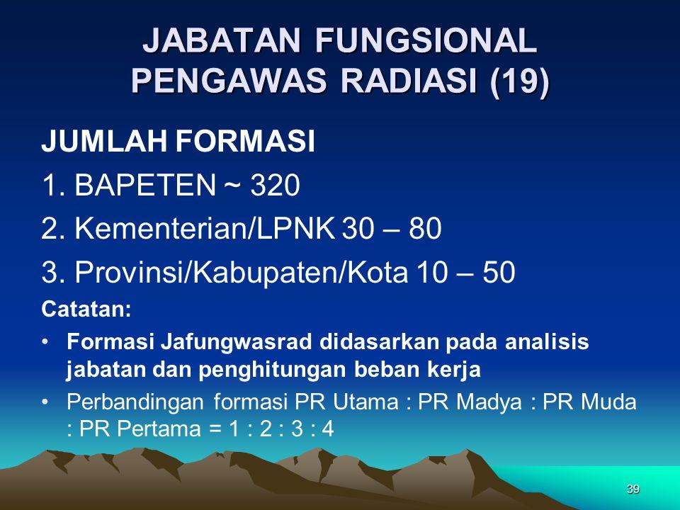 JABATAN FUNGSIONAL PENGAWAS RADIASI (19) JUMLAH FORMASI 1. BAPETEN ~ 320 2. Kementerian/LPNK 30 – 80 3. Provinsi/Kabupaten/Kota 10 – 50 Catatan: Forma
