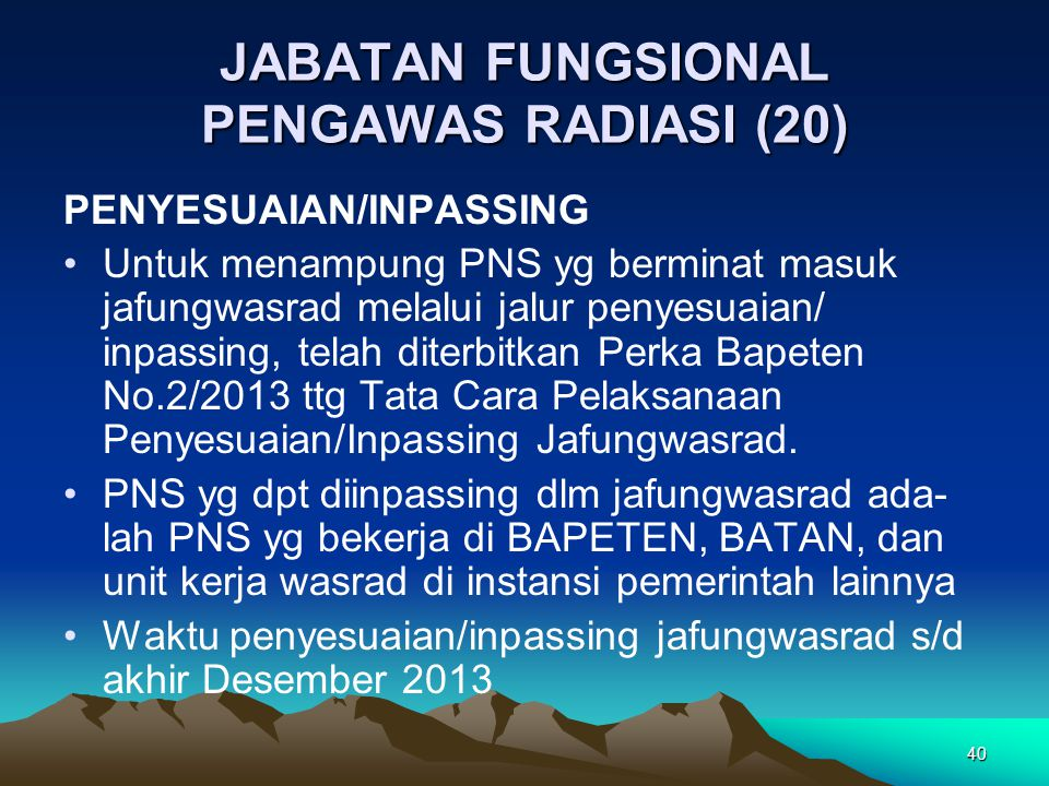 JABATAN FUNGSIONAL PENGAWAS RADIASI (20) PENYESUAIAN/INPASSING Untuk menampung PNS yg berminat masuk jafungwasrad melalui jalur penyesuaian/ inpassing