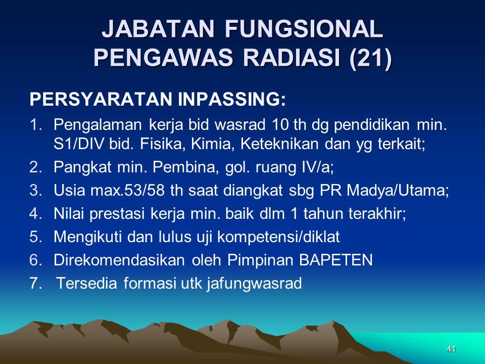 JABATAN FUNGSIONAL PENGAWAS RADIASI (21) PERSYARATAN INPASSING: 1.Pengalaman kerja bid wasrad 10 th dg pendidikan min. S1/DIV bid. Fisika, Kimia, Kete