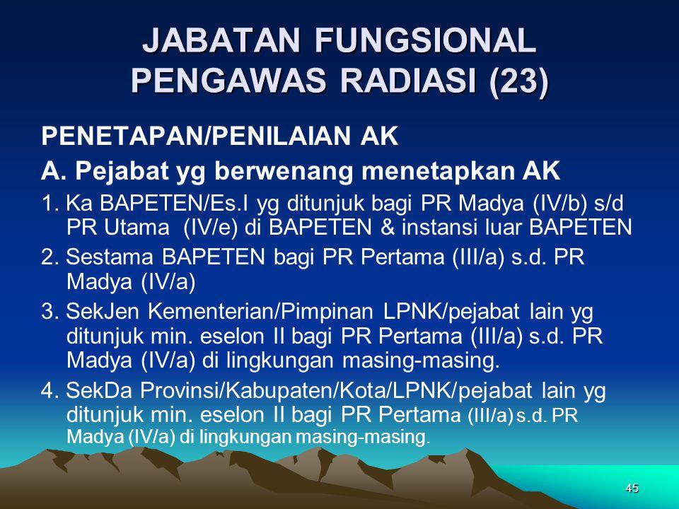 45 JABATAN FUNGSIONAL PENGAWAS RADIASI (23) PENETAPAN/PENILAIAN AK A.