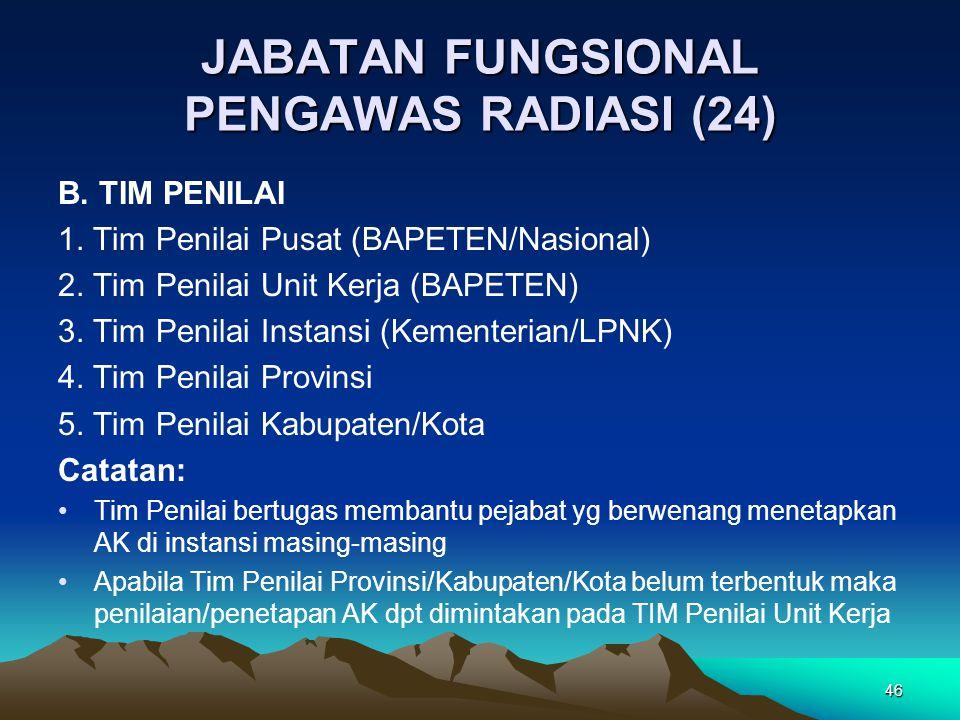 JABATAN FUNGSIONAL PENGAWAS RADIASI (24) B. TIM PENILAI 1. Tim Penilai Pusat (BAPETEN/Nasional) 2. Tim Penilai Unit Kerja (BAPETEN) 3. Tim Penilai Ins