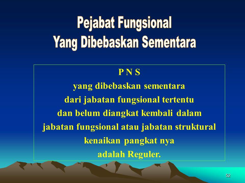 52 P N S yang dibebaskan sementara dari jabatan fungsional tertentu dan belum diangkat kembali dalam jabatan fungsional atau jabatan struktural kenaik