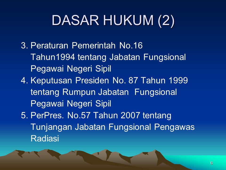 6 DASAR HUKUM (2) 3. Peraturan Pemerintah No.16 Tahun1994 tentang Jabatan Fungsional Pegawai Negeri Sipil 4. Keputusan Presiden No. 87 Tahun 1999 tent