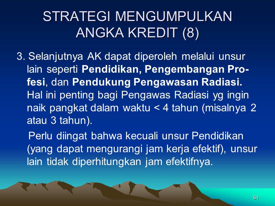 61 STRATEGI MENGUMPULKAN ANGKA KREDIT (8) 3.