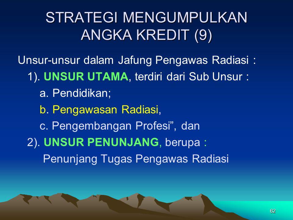 62 STRATEGI MENGUMPULKAN ANGKA KREDIT (9) Unsur-unsur dalam Jafung Pengawas Radiasi : 1). UNSUR UTAMA, terdiri dari Sub Unsur : a. Pendidikan; b. Peng
