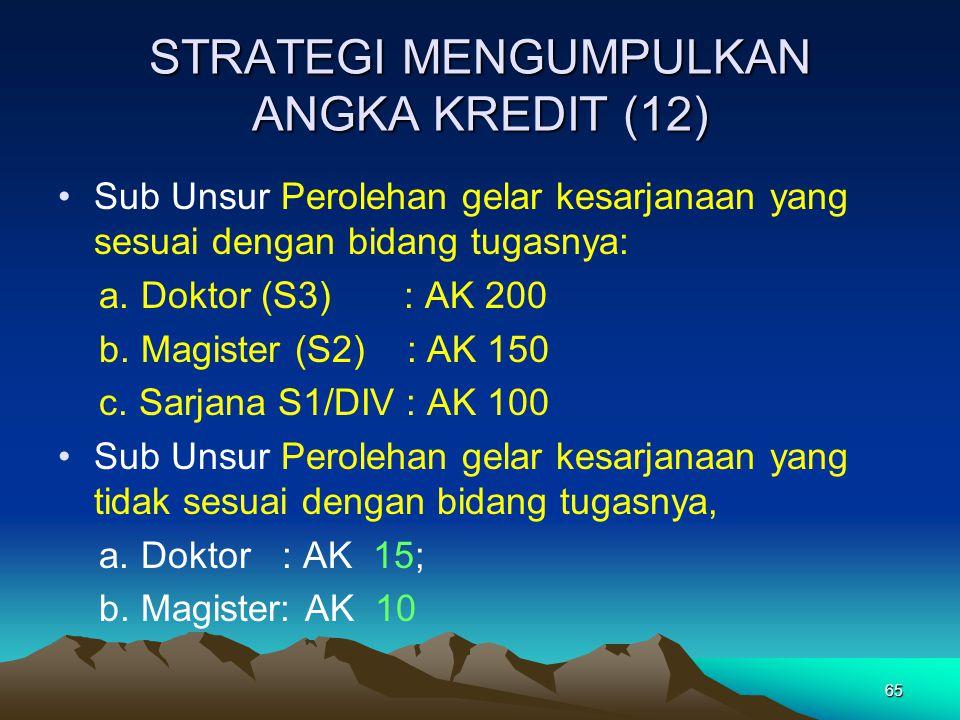 65 STRATEGI MENGUMPULKAN ANGKA KREDIT (12) Sub Unsur Perolehan gelar kesarjanaan yang sesuai dengan bidang tugasnya: a. Doktor (S3) : AK 200 b. Magist