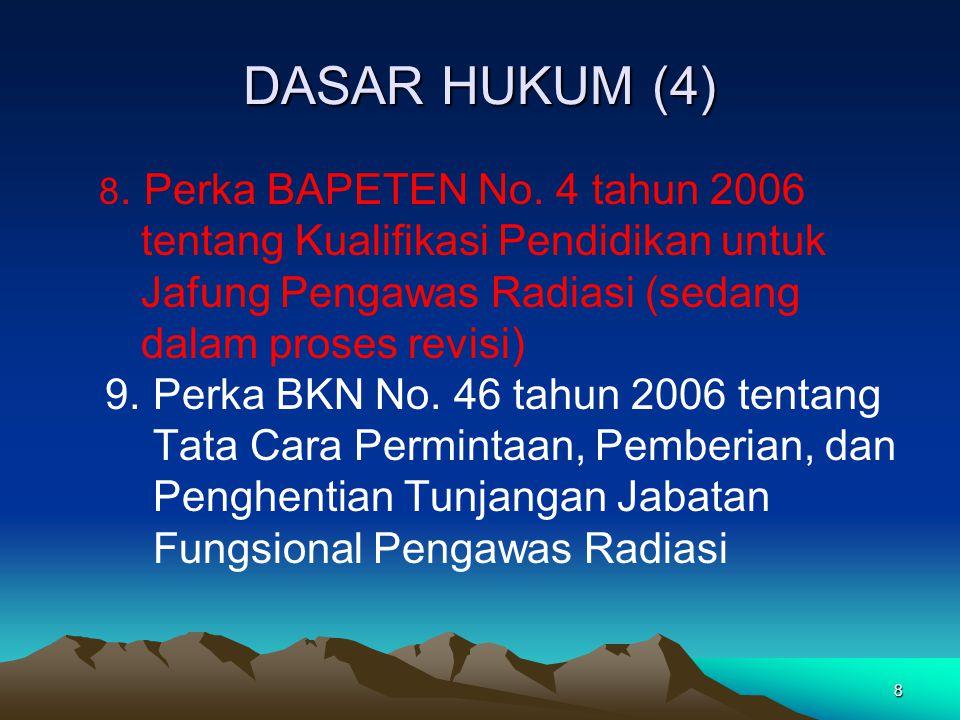 8 DASAR HUKUM (4) 8. Perka BAPETEN No. 4 tahun 2006 tentang Kualifikasi Pendidikan untuk Jafung Pengawas Radiasi (sedang dalam proses revisi) 9. Perka