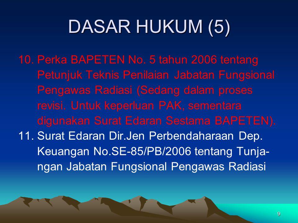 9 DASAR HUKUM (5) 10. Perka BAPETEN No. 5 tahun 2006 tentang Petunjuk Teknis Penilaian Jabatan Fungsional Pengawas Radiasi (Sedang dalam proses revisi