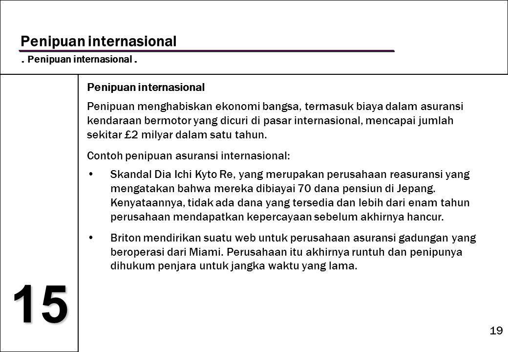 19 15 Penipuan internasional. Penipuan internasional.