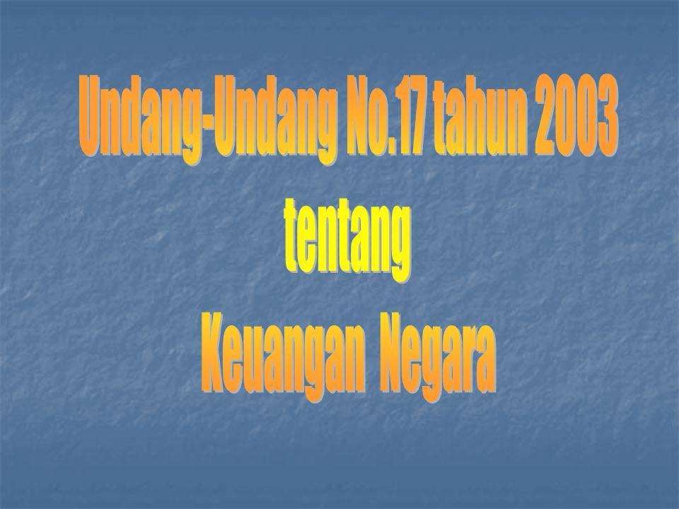 PAKET UNDANG-UNDANG 1. UU NO. 17 TAHUN 2003 TTG KEUANGAN NEGARA 2. UU NO. 1 TAHUN 2004 TTG PERBENDAHARAAN NEGARA 3. UU NO. 15 TAHUN 2004 TTG PEMERIKSA
