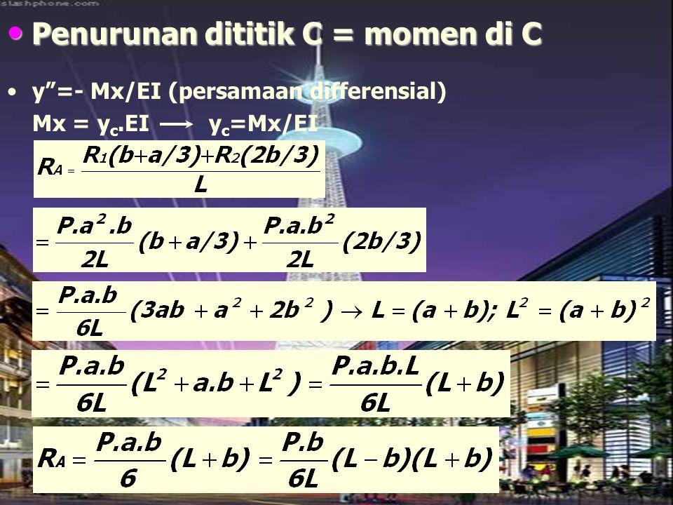 """Penurunan dititik C = momen di C Penurunan dititik C = momen di C y""""=- Mx/EI (persamaan differensial) Mx = y c.EI y c =Mx/EI"""