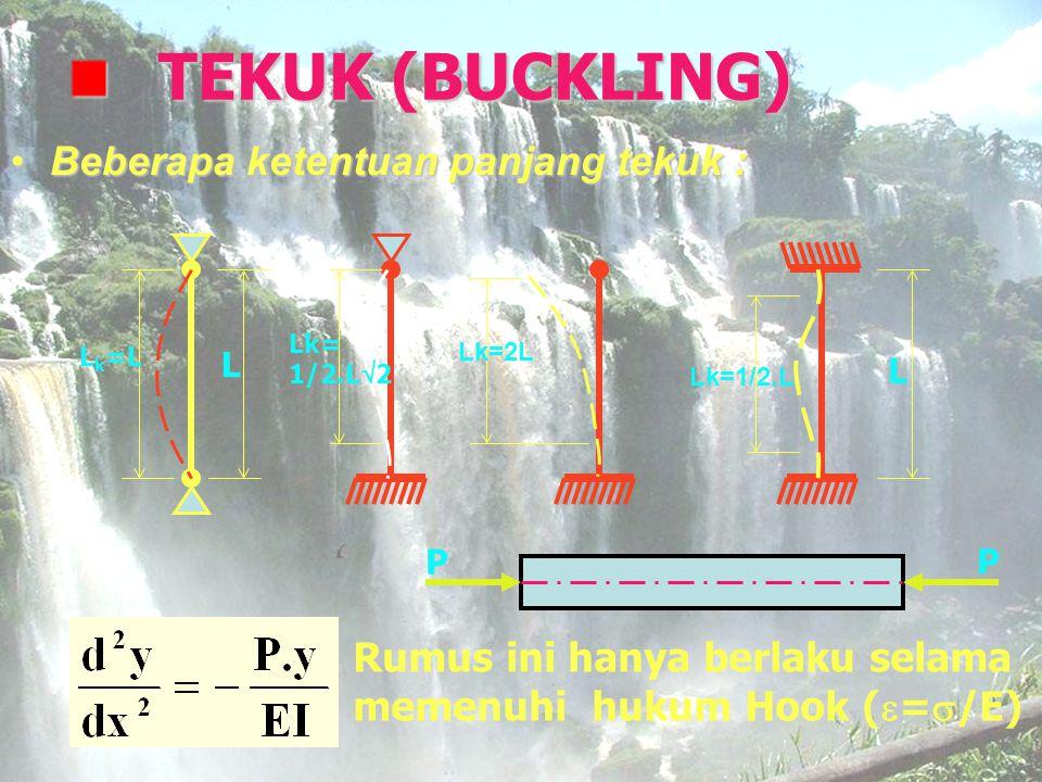 TEKUK (BUCKLING) Beberapa ketentuan panjang tekuk :Beberapa ketentuan panjang tekuk : L L k =L Lk= 1/2.L  2 Lk=2L Lk=1/2.L L P P Rumus ini hanya berl