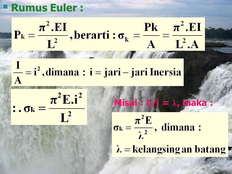  Rumus Euler : Misal : L/i =, maka :