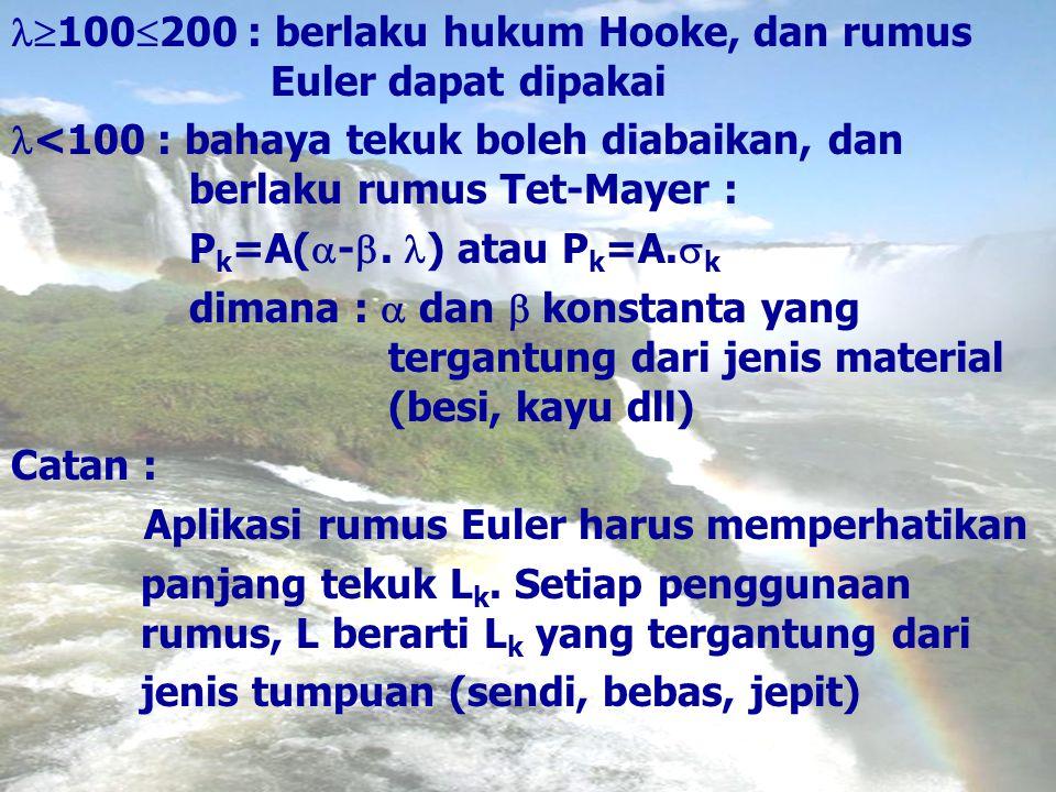  100  200 : berlaku hukum Hooke, dan rumus Euler dapat dipakai <100 : bahaya tekuk boleh diabaikan, dan berlaku rumus Tet-Mayer : P k =A(  - . ) a