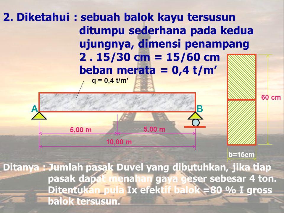 Jawab : Ix = (0,8)1/12(15)(60) 3 =216.000cm 4 M max = 1/8 (0,4)(10) 2 =5 tm = 5000 kgm S = 15(30)(15) = 6750 cm 3 L =(M max -M A ).S/Ix = (500000-0).6750/216.000 = 15625 kg Jumlah pasak untuk ½ bentang : = 15625/4000 = 3,9 ≈ 4 buah pasak.