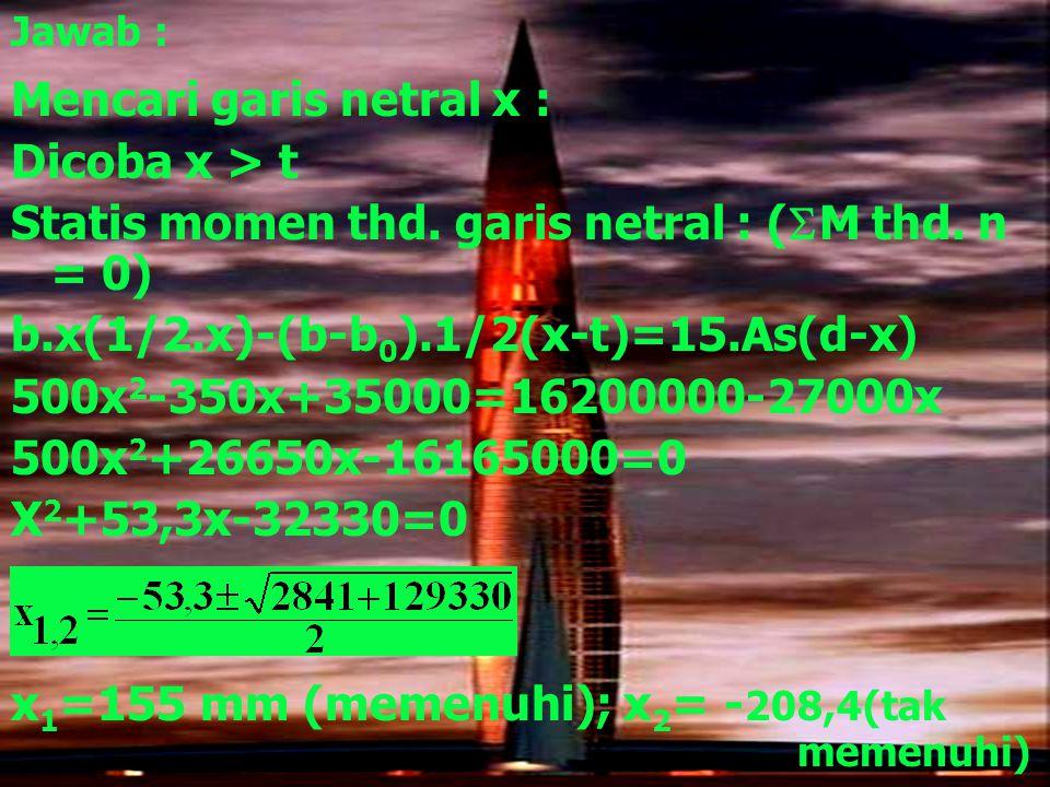 Jawab : Mencari garis netral x : Dicoba x > t Statis momen thd. garis netral : (  M thd. n = 0) b.x(1/2.x)-(b-b 0 ).1/2(x-t)=15.As(d-x) 500x 2 -350x+