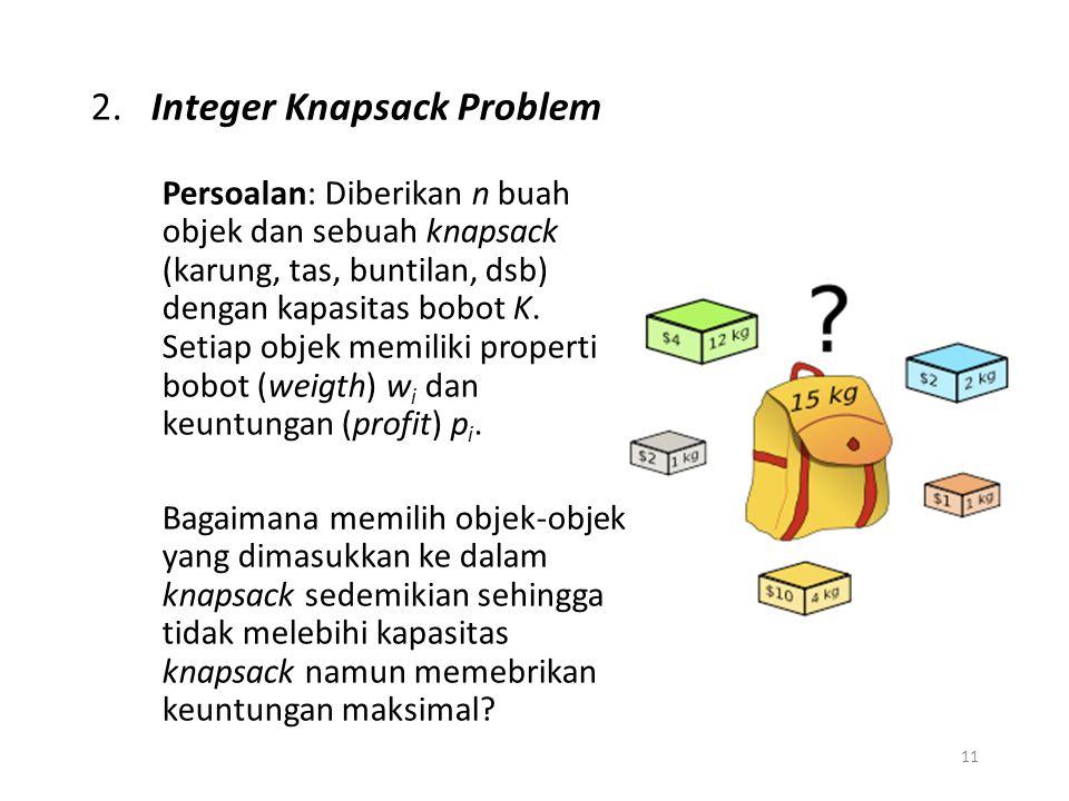 11 2. Integer Knapsack Problem Persoalan: Diberikan n buah objek dan sebuah knapsack (karung, tas, buntilan, dsb) dengan kapasitas bobot K. Setiap obj