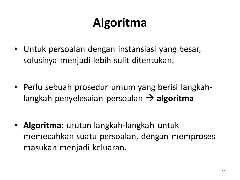 20 Algoritma Untuk persoalan dengan instansiasi yang besar, solusinya menjadi lebih sulit ditentukan. Perlu sebuah prosedur umum yang berisi langkah-