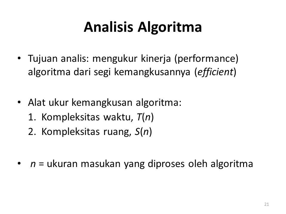 21 Analisis Algoritma Tujuan analis: mengukur kinerja (performance) algoritma dari segi kemangkusannya (efficient) Alat ukur kemangkusan algoritma: 1.
