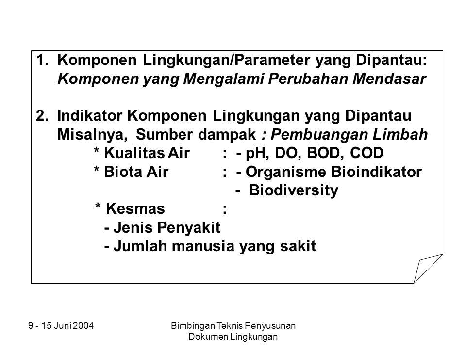 9 - 15 Juni 2004Bimbingan Teknis Penyusunan Dokumen Lingkungan 1. Komponen Lingkungan/Parameter yang Dipantau: Komponen yang Mengalami Perubahan Menda