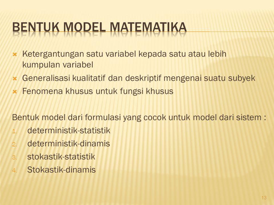  Ketergantungan satu variabel kepada satu atau lebih kumpulan variabel  Generalisasi kualitatif dan deskriptif mengenai suatu subyek  Fenomena khusus untuk fungsi khusus Bentuk model dari formulasi yang cocok untuk model dari sistem : 1.