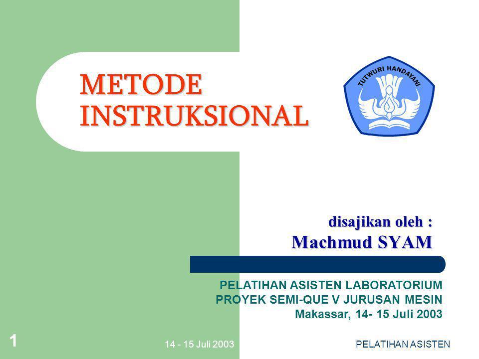 14 - 15 Juli 2003PELATIHAN ASISTEN 2 POKOK POKOK MATERI POKOK POKOK MATERI LATAR BELAKANG DEFINISI RAGAM METODE & PENERAPAN MEMILIH METODE INSTRUKSIONAL MENILAI KEKUATAN & KELEMAHAN PENERAPAN METODE INSTRUKSIONAL