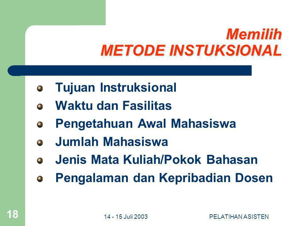 14 - 15 Juli 2003PELATIHAN ASISTEN 18 Memilih METODE INSTUKSIONAL Tujuan Instruksional Waktu dan Fasilitas Pengetahuan Awal Mahasiswa Jumlah Mahasiswa