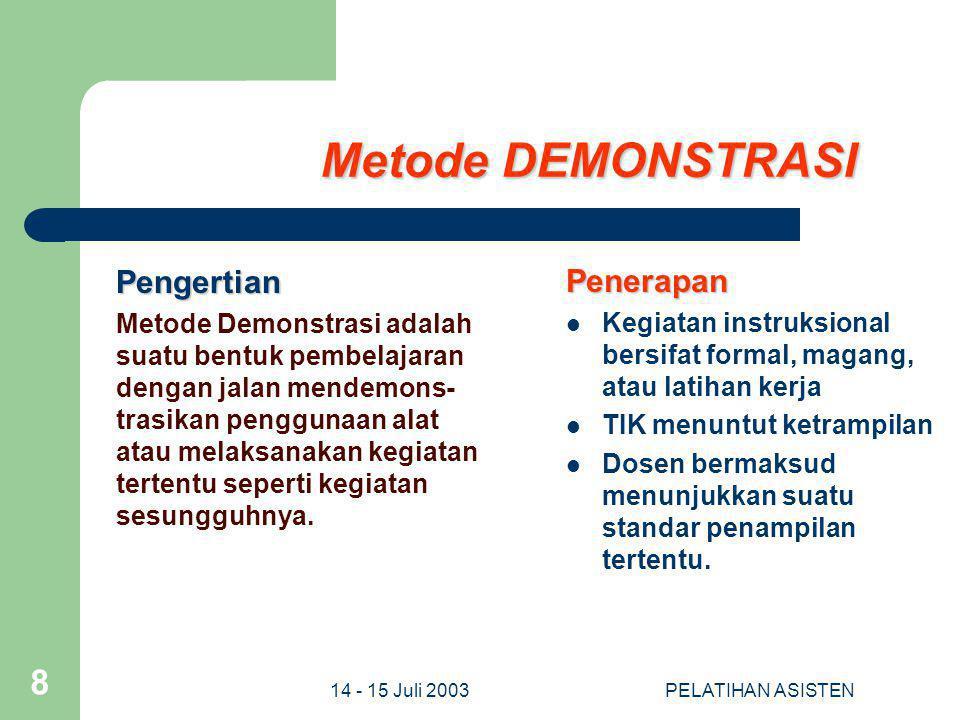 14 - 15 Juli 2003PELATIHAN ASISTEN 8 Metode DEMONSTRASI Pengertian Metode Demonstrasi adalah suatu bentuk pembelajaran dengan jalan mendemons- trasika