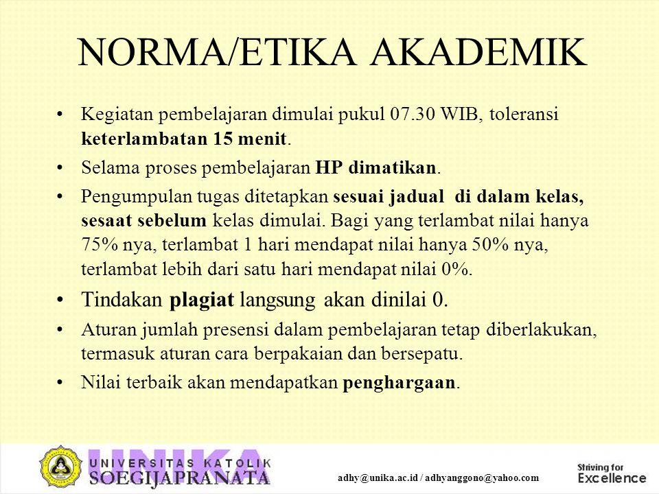 NORMA/ETIKA AKADEMIK Kegiatan pembelajaran dimulai pukul 07.30 WIB, toleransi keterlambatan 15 menit. Selama proses pembelajaran HP dimatikan. Pengump