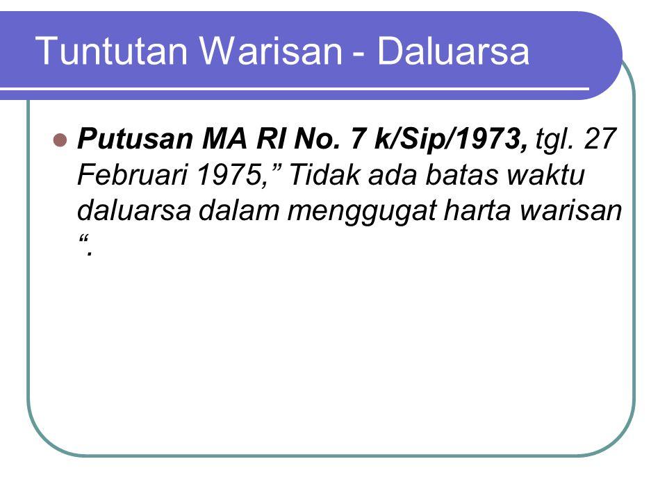 """Tuntutan Warisan - Daluarsa Putusan MA RI No. 7 k/Sip/1973, tgl. 27 Februari 1975,"""" Tidak ada batas waktu daluarsa dalam menggugat harta warisan """"."""