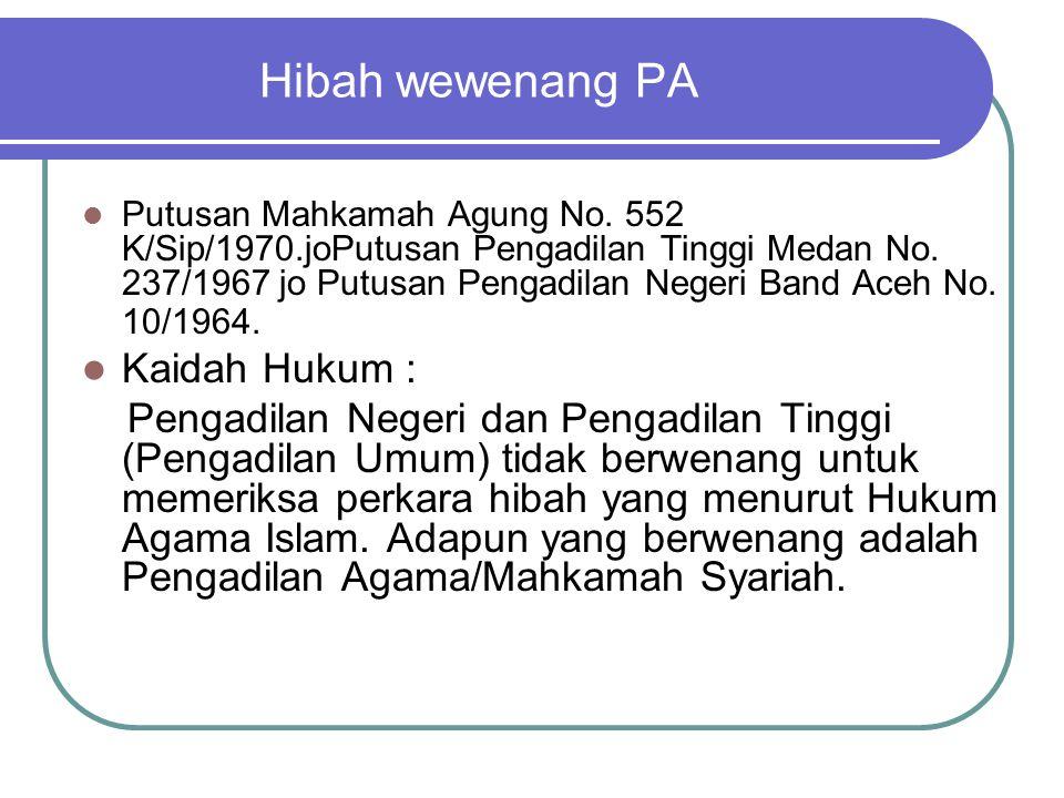 Hibah wewenang PA Putusan Mahkamah Agung No. 552 K/Sip/1970.joPutusan Pengadilan Tinggi Medan No. 237/1967 jo Putusan Pengadilan Negeri Band Aceh No.