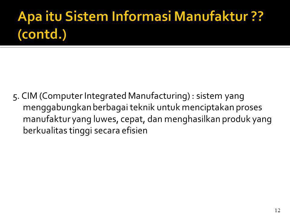5. CIM (Computer Integrated Manufacturing) : sistem yang menggabungkan berbagai teknik untuk menciptakan proses manufaktur yang luwes, cepat, dan meng