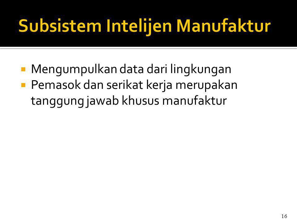  Mengumpulkan data dari lingkungan  Pemasok dan serikat kerja merupakan tanggung jawab khusus manufaktur 16