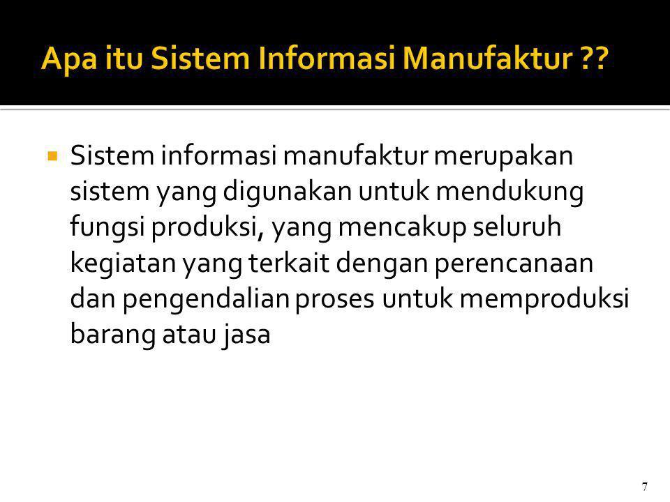  Sistem informasi manufaktur merupakan sistem yang digunakan untuk mendukung fungsi produksi, yang mencakup seluruh kegiatan yang terkait dengan perencanaan dan pengendalian proses untuk memproduksi barang atau jasa 7