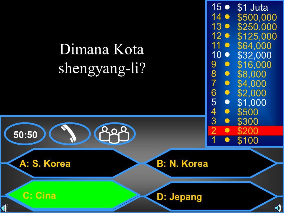 A: S. Korea C: Cina B: N.